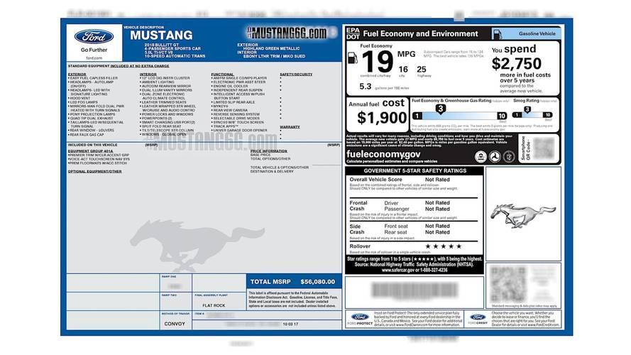 2018 Ford Mustang Bullitt Window Sticker Leaked? [UPDATE]