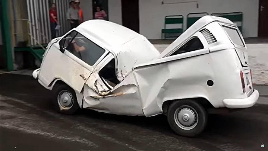 VW Bus Does Its Best Oscar Mayer Wienermobile Impression