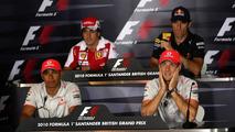 Lewis Hamilton (GBR), McLaren Mercedes, Fernando Alonso (ESP), Scuderia Ferrari, Mark Webber (AUS), Red Bull Racing, Jenson Button (GBR), McLaren Mercedes
