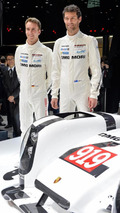 Timo Glock and Mark Webber with 2014 Porsche 919 Hybrid in Geneva