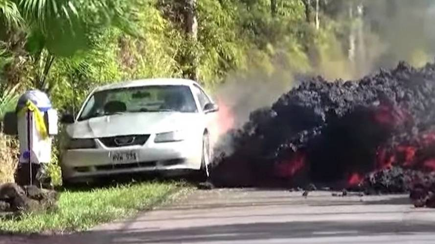Watch Hawaii's Lava Flow Engulf Cars And Roads