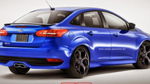 2015 Ford Focus sedan and wagon rendered in ST flavor