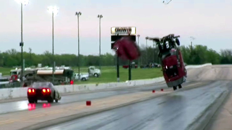 See this 4,000 HP Corvette Dragster Fly After 200 MPH Wheelie
