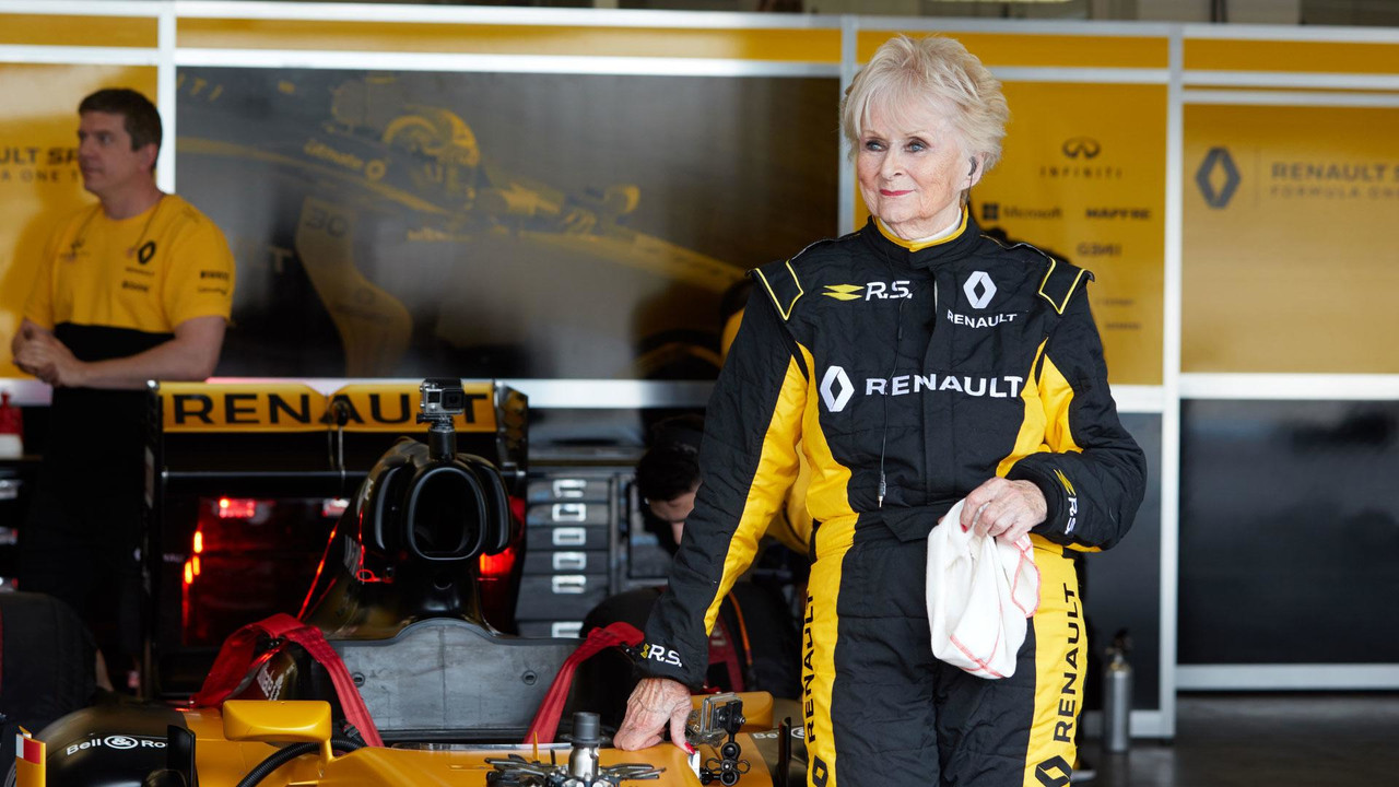 79 Year Old Lady Drives Renault F1 Car