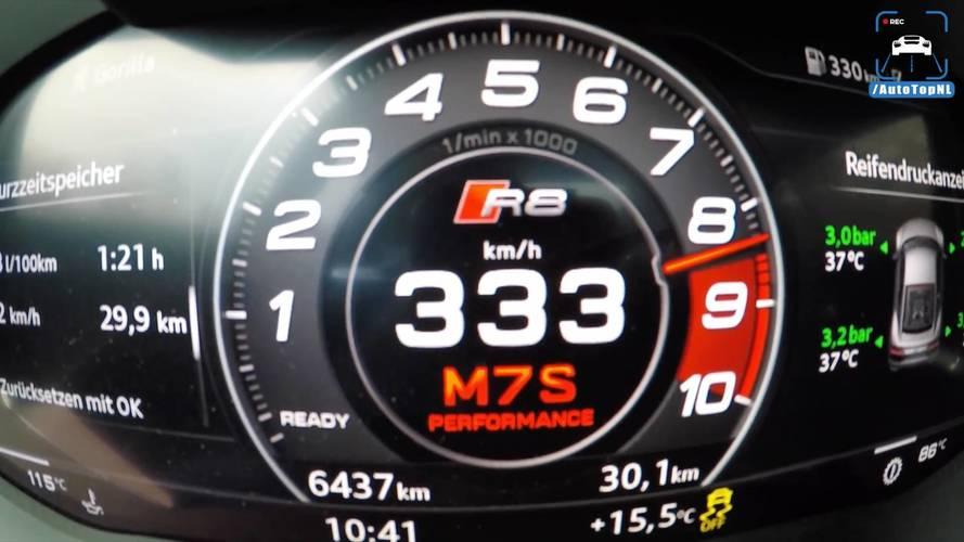 Audi R8 V10 Plus'ın azami hızına ulaşmasını izleyin
