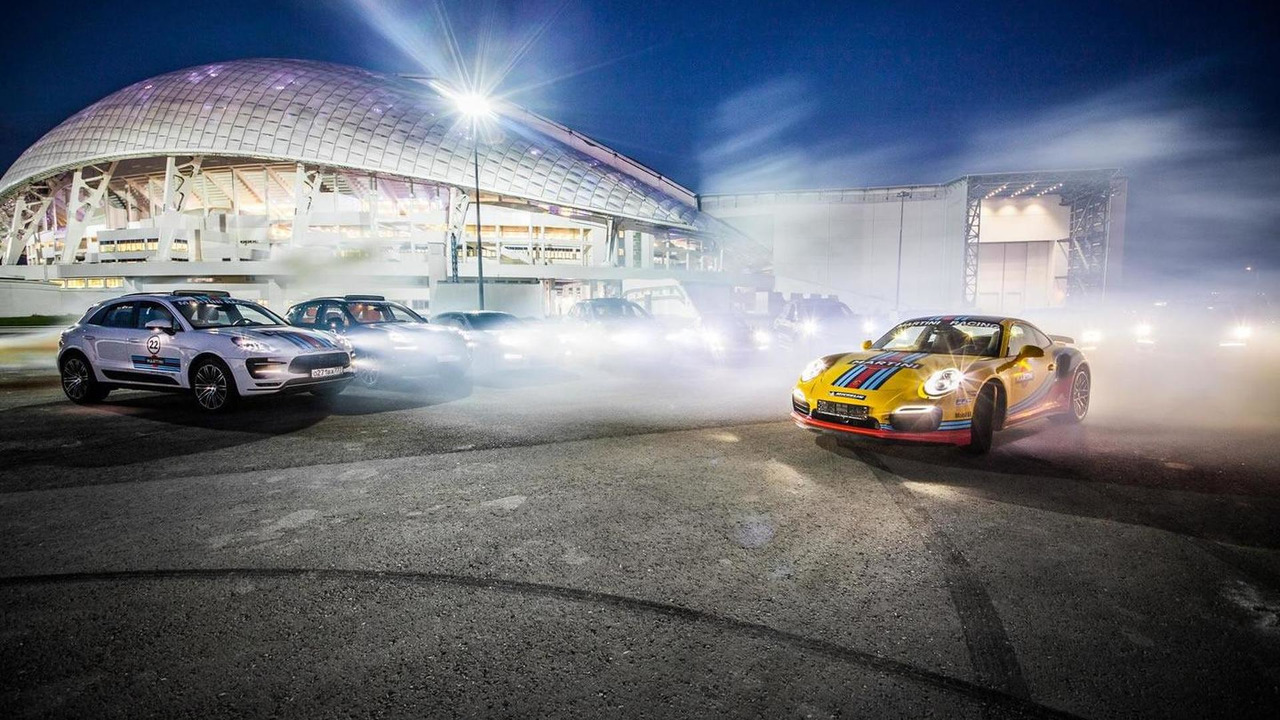 Porsche 911, Cayenne Macan with Martini Racing livery