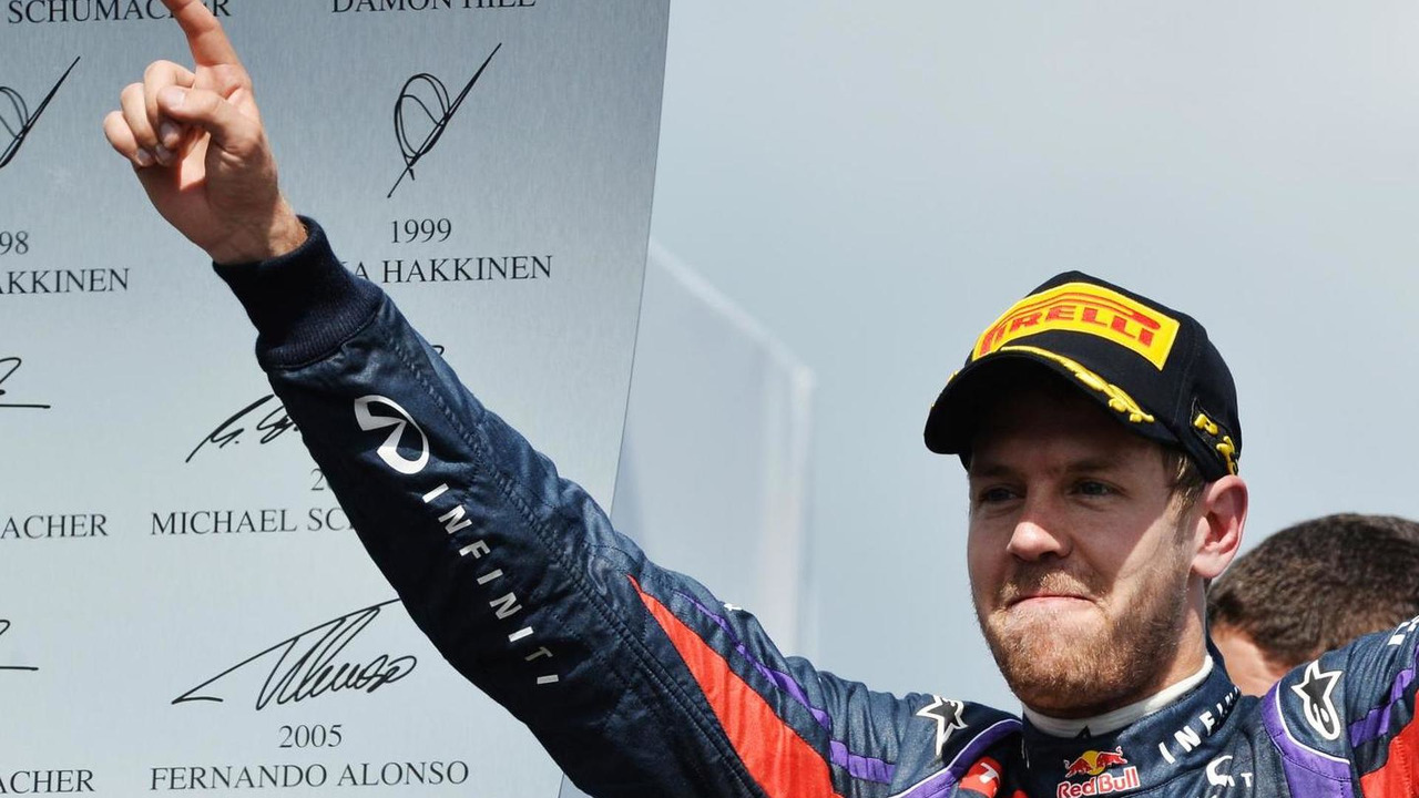 Sebastian Vettel, Red Bull Racing celebrates on the podium at Canadian Grand Prix
