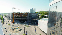The new Porsche museum: A view of the prospective glass façade (May 2008)
