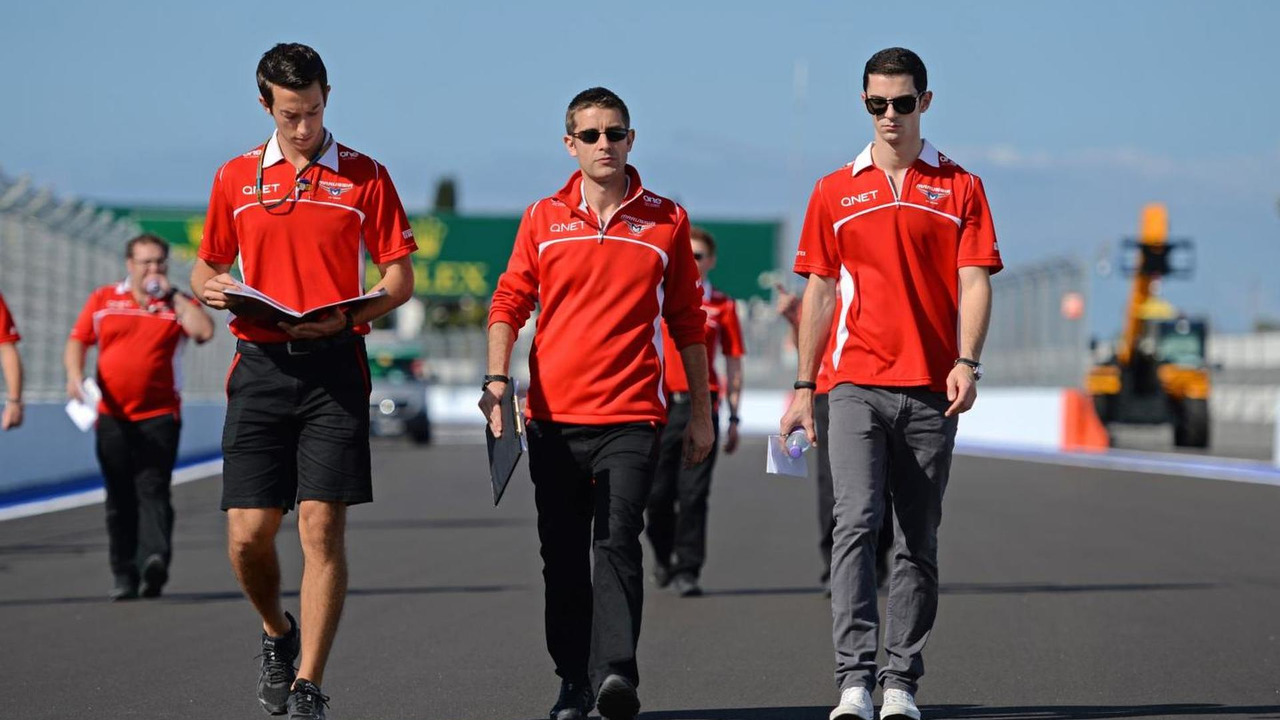 Alexander Rossi (USA), Marussia F1 Team Reserve Driver (right), walks the circuit, 09.10.2014, Russian Grand Prix, Sochi Autodrom / XPB