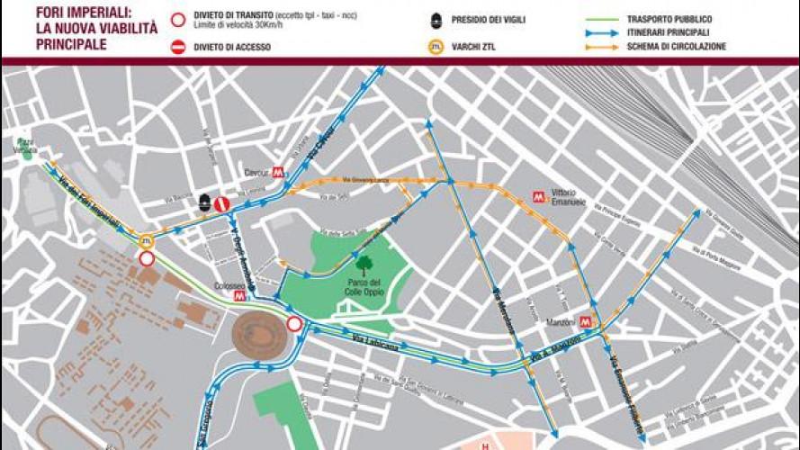 Fori Imperiali Roma, chiusura al traffico auto e moto dal 3 agosto  - Mappa e Video