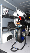 Yamaha YZF-R1M inside Vauxhall Movano Race Van