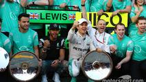 Lewis Hamilton, Mercedes AMG F1 Team and Nico Rosberg, Mercedes AMG F1 Team celebrate with the team