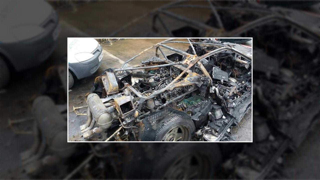 Ferrari F40 wrecked by fire