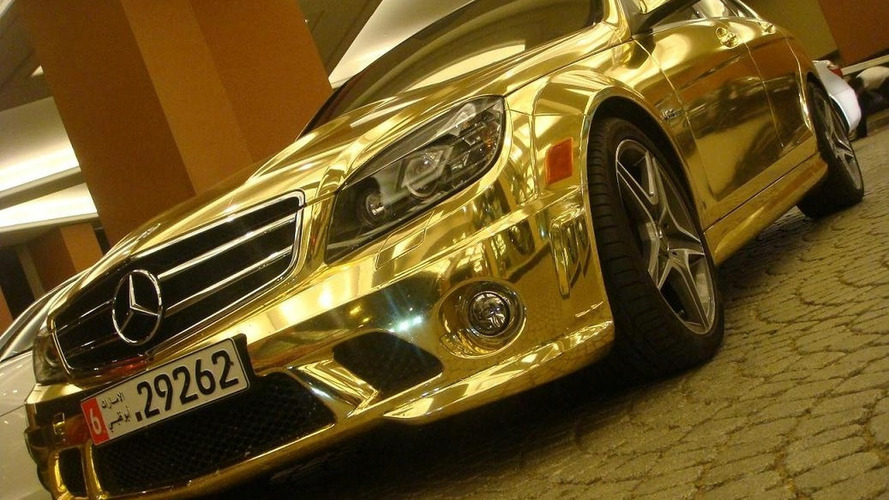 Chrome Finished Mercedes C63 AMG Found in Dubai