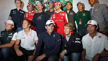 Drivers gather to celebrate the 300th race of Rubens Barrichello (BRA), Williams F1 Team - Formula 1 World Championship, Rd 13, Belgian Grand Prix, 26.08.2010 Spa, Belgium