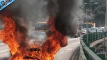 Ferrari FF goes up in flames in Hong Kong