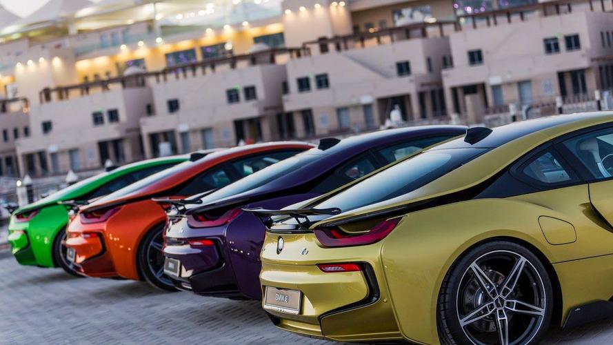 Colourful BMW i8s at Yas Marina Circuit