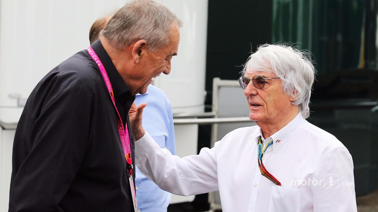 Bernie Ecclestone, with Paul Rosche, Former BMW Motorsport Technical Director