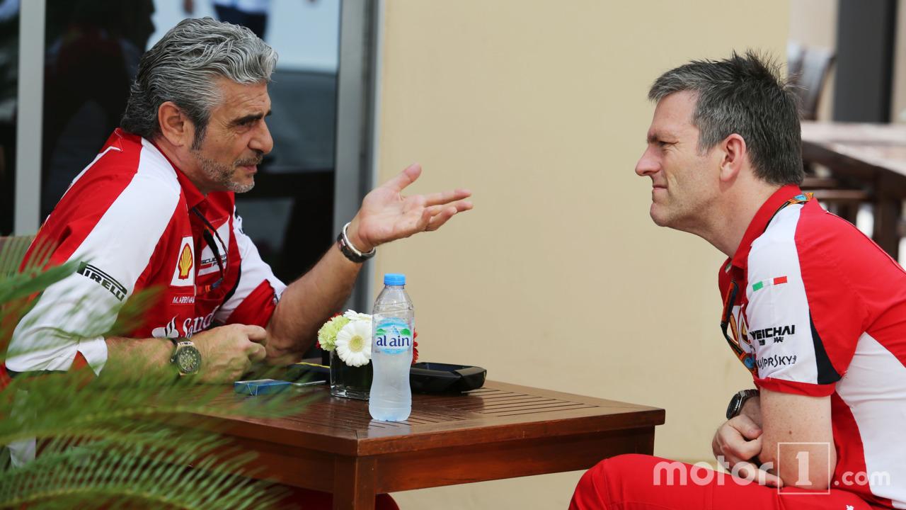 Maurizio Arrivabene, directeur Ferrari avec James Allison, directeur technique châssis Ferrari