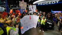 PSA Peugeot Citroen protest at the 2012 Paris Motor Show