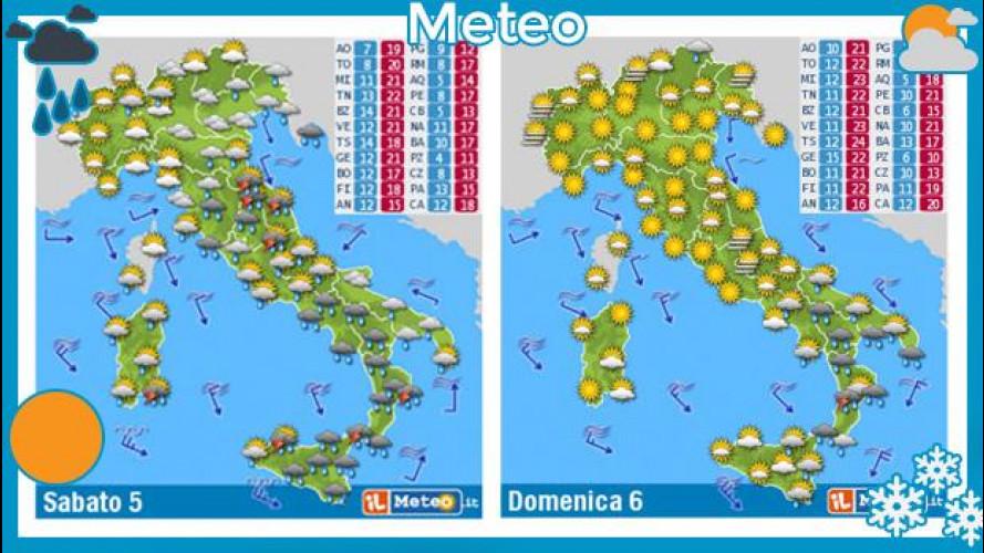 Previsioni meteo 5 e 6 aprile: pioggia, con obbligo di catene da neve