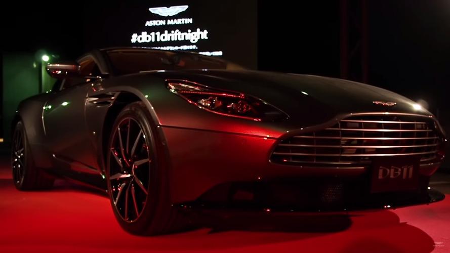 Aston Martin DB11 poses at Osaka launch party, Vanquish drifts