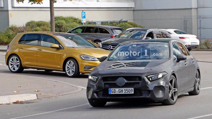 2018 Mercedes A-Class Spied Being Benchmarked Against VW Golf