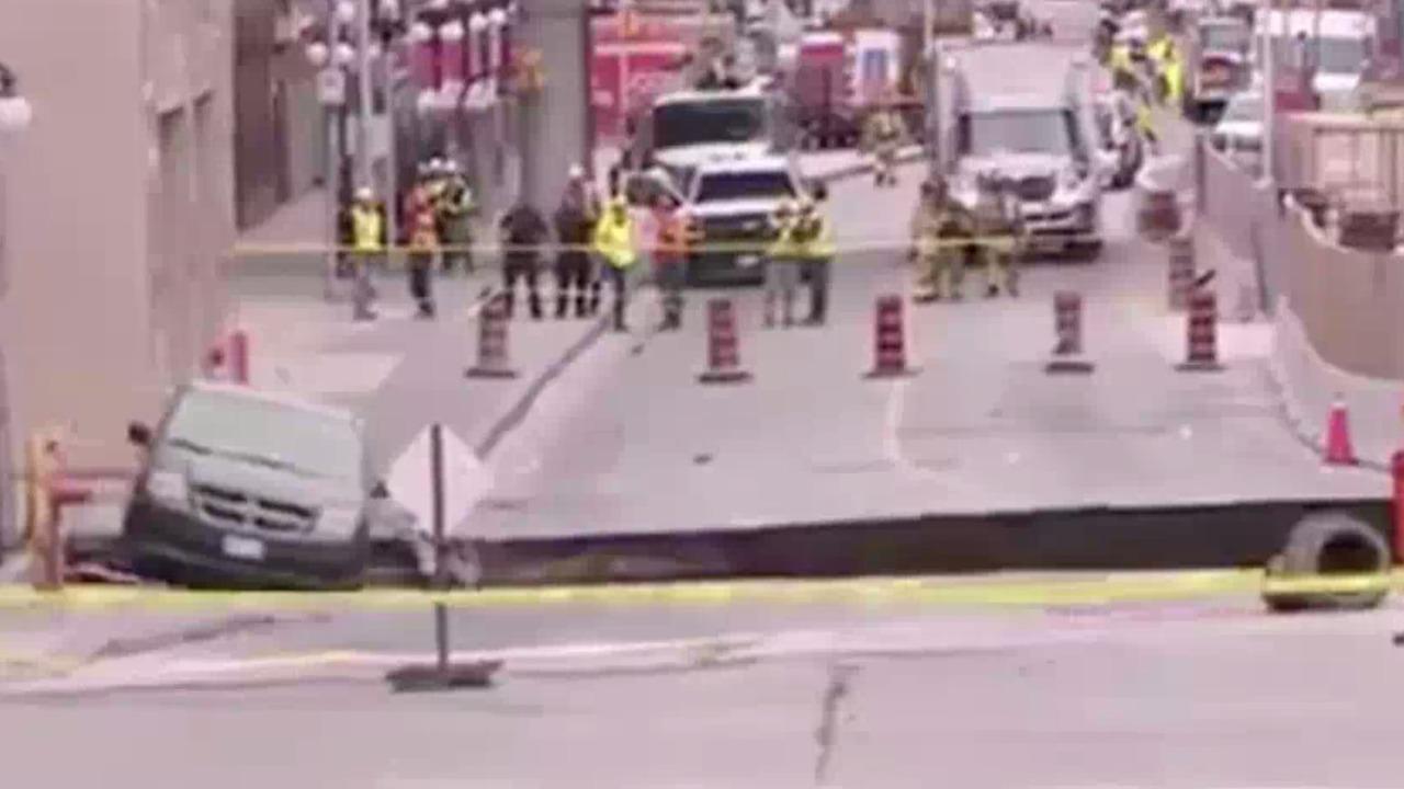 Huge Canadian sinkhole destroys four-lane road, swallows car