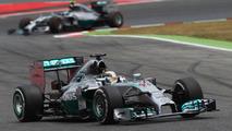 Lewis Hamilton (GBR) leads team mate Nico Rosberg (GER), 11.05.2014, Spanish Grand Prix, Barcelona / XPB