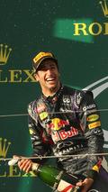 Daniel Ricciardo (AUS), celebrates his second position with the champagne on the podium, 16.03.2014, Australian Grand Prix, Albert Park, Melbourne / XPB