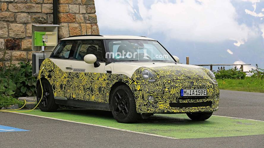 Mini Electric test mule spied charging, shows off interior