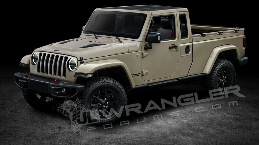 2019 Jeep Wrangler Pickup Predictably Rendered