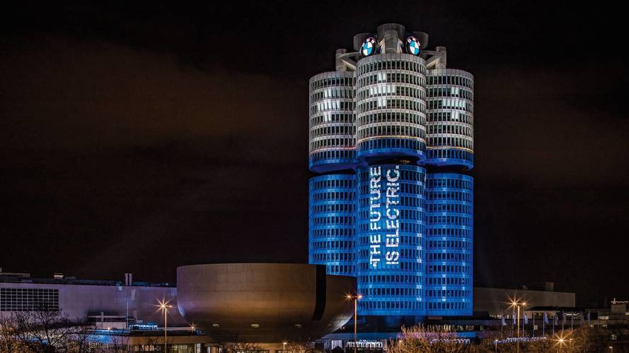 BMW HQ Lights Up To Look Like A Battery To Mark Sales Milestone