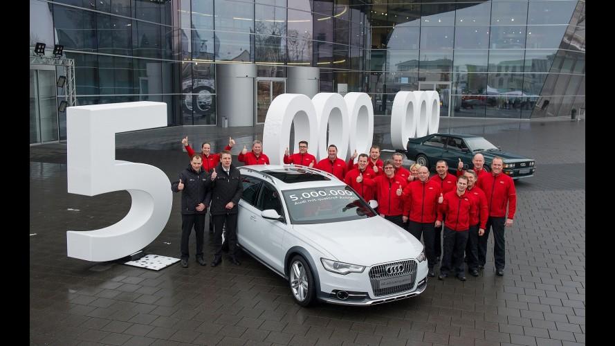 Audi comemora produção de 5 milhões de modelos Quattro