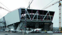 The new Porsche museum: A view of the prospective glass façade (Nov. 2007)