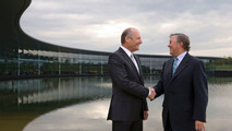 Ron Dennis and Richard Lapthorne at McLaren headquarters in Woking England