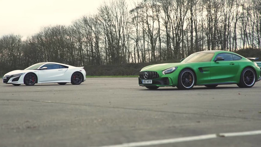 Acura NSX Battles AMG GT R In Drag And Rolling Races, Brake Test