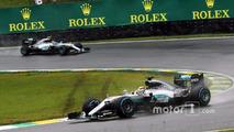Lewis Hamilton, Mercedes AMG F1 W07 Hybrid leads team mate Nico Rosberg, Mercedes AMG F1 W07 Hybrid