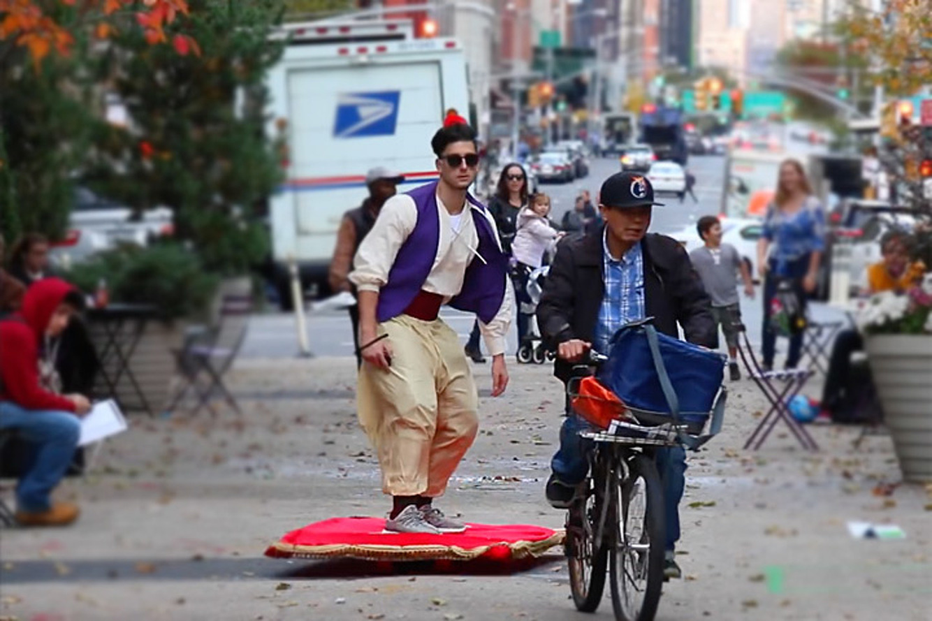 Watch as Aladdin Glides Through NYC on a Magic Carpet