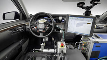 """""""Automated Driving"""" at Mercedes-Benz - Robots control accelerator, brake and steering in test vehicle."""