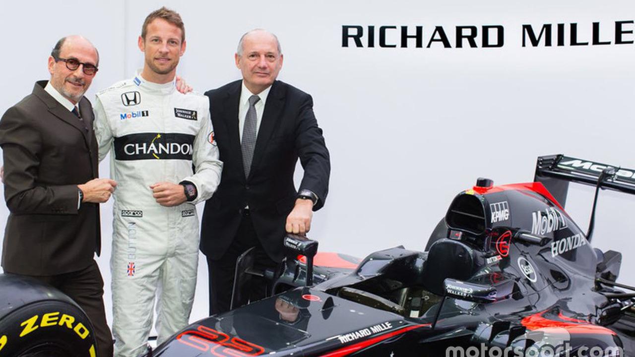 Jenson Button, McLaren, Ron Dennis, président McLaren Technology Group et PDG avec Richard Mille, PDG Richard Mille