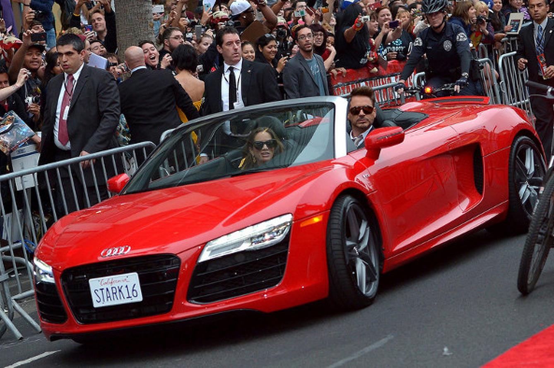Robert Downey Jr. Drives R8 to Iron Man 3 Premiere