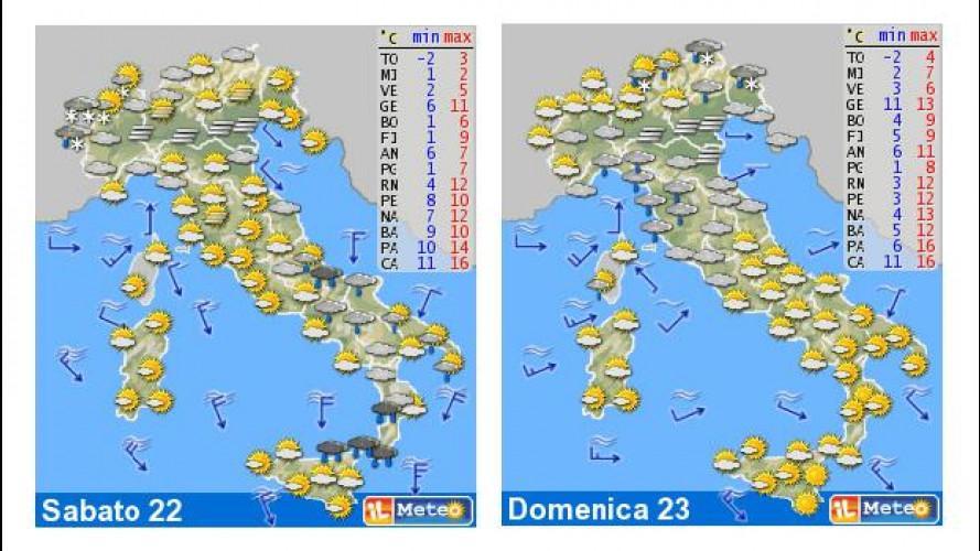 Il meteo del fine settimana 22-23 dicembre: tempo in miglioramento