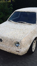 Volkswagen Golf covered in popcorn