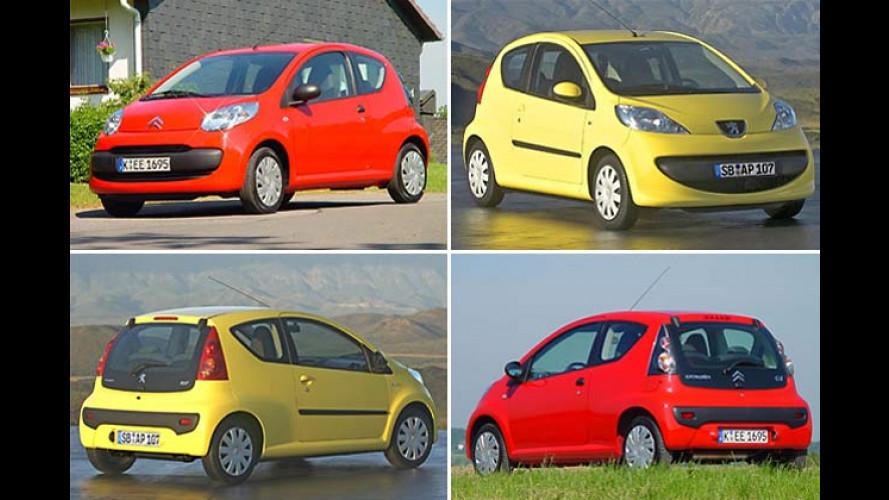Sparklasseautos Citroën C1 und Peugeot 107 im Zwillingstest