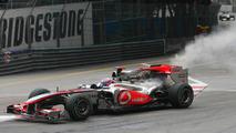 Jenson Button (GBR), McLaren Mercedes stop on track because of mechanical problem- Formula 1 World Championship, Rd 6, Monaco Grand Prix