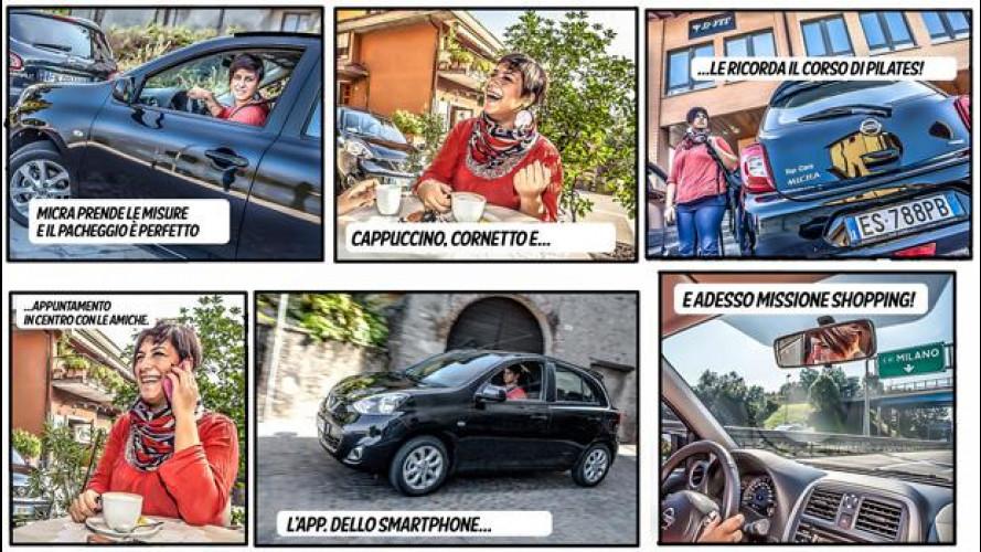 Nuova Nissan Micra, la prova diventa fumetto