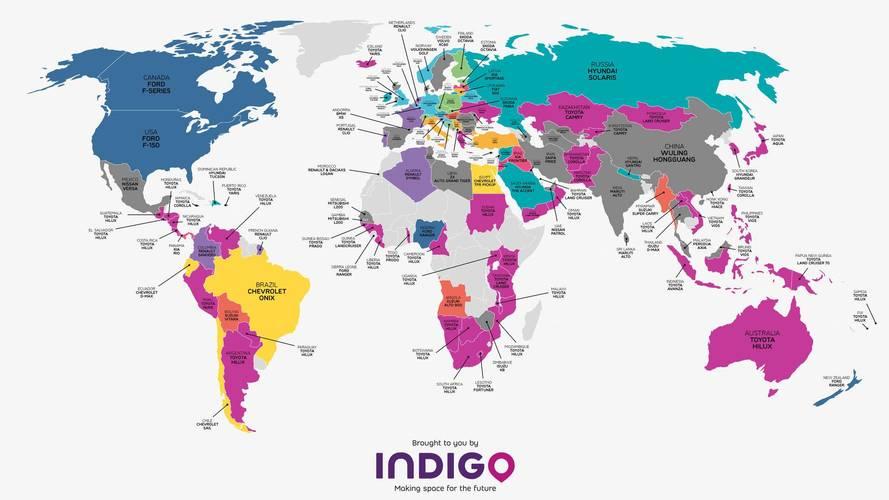 Mapa-mundi mostra os carros mais vendidos em cada país em 2016