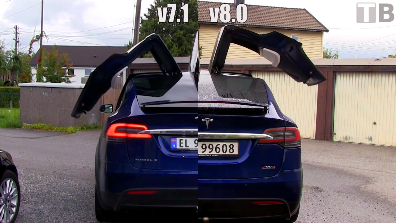 Tesla v8.0 update makes Model X's doors open much faster