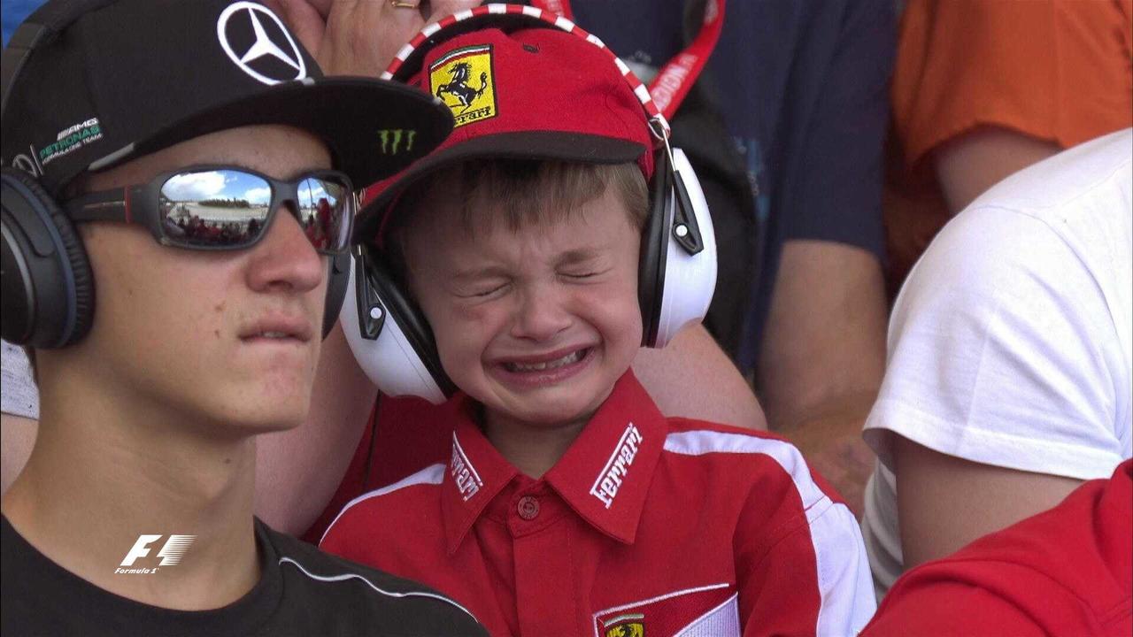 French Ferrri fan cries at the Spanish GP F1